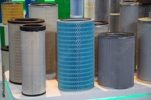 Fotografía Close-up various diameters and types of industrial filter product