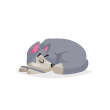 Cute Cartoon Gray Dog Sleep. Pet Animal. Flat With Simple Gradient Illustration. Farm Animal. Vector Drawing Isolated On White Background.