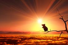日の出とネズミのシル...
