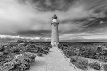 The Beautiful Cape Du Couedic Lighthouse In Black And White On A Day With Dramatic Sky, Kangaroo Island, Southern Australia