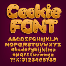 Chocolate Cookie Alphabet Font. Uppercase And Lowercase Dessert Letters. Letters, Numbers And Symbols With Chocolate Chips. Stock Vector Illustration.