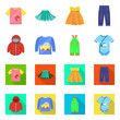 Vector illustration of fashion and garment symbol. Collection of fashion and cotton stock symbol for web.