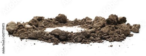 Obraz na plátne Dry dirt pile isolated on white background