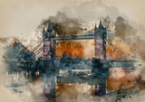 Watercolour painting of Golden Autumn sunrise over Tower Bridge in London. - 267760873