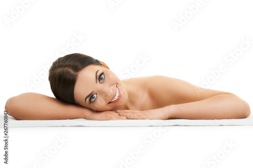 plakat Beautiful woman face close up studio on white