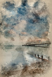 Watercolour painting of Beautiful long exposure sunset landscape image of pier at sea in Worthing England - 267761005