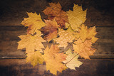 Autumn leaves on rustic wooden background. Top view with copy space. - 267761052