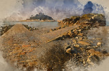 Watercolour painting of Path to St Michael's Mount from Marazion low tide landscape Cornwall England - 267761082