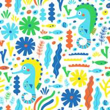 Sea Life Seamless Pattern With Sea Horse, Fish And Water Plant. Vector Illustration. Wrapping. Surface Decoration.