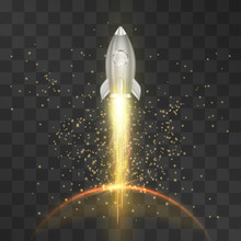 Spaceship Launch, Flight In The Outer Space Over The Planet Isolated On Transparent Background. Vector Metallic Shuttle Around Stardust, Star Silhouette. Business Startup Concept, Over Universe Travel
