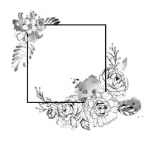 Black Ink Tattoo Hand Drawn Frame