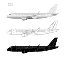 Aircraft In Realistic And Outline Style. Black Silhouette Of Plane. Side View Of Airplane. Industrial Isolated Blueprint