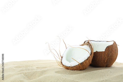 Foto auf AluDibond Palms Coconuts on clear sea sand isolated on white background. Summer vacation