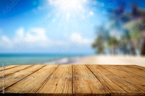 Fototapety, obrazy: Desk of free space and summer background of beach with palms and summer sea