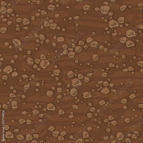 Fototapeta Cartoon seamless texture ground with small stones for concept design. Cute seamless pattern brown stone. Seamless vector texture. Stones on separate layers. obraz