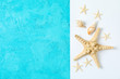 Starfish and seashells on two tone background, space for text and top view. Summer vacation backdrop