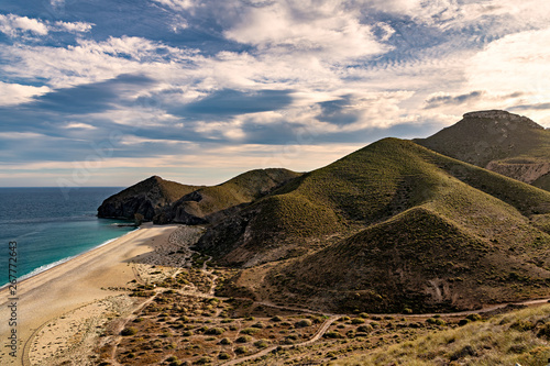 High angle view of famous beach Playa de los Muertos in Cabo de Gata natural park, on the Mediterranean coast of Spain.