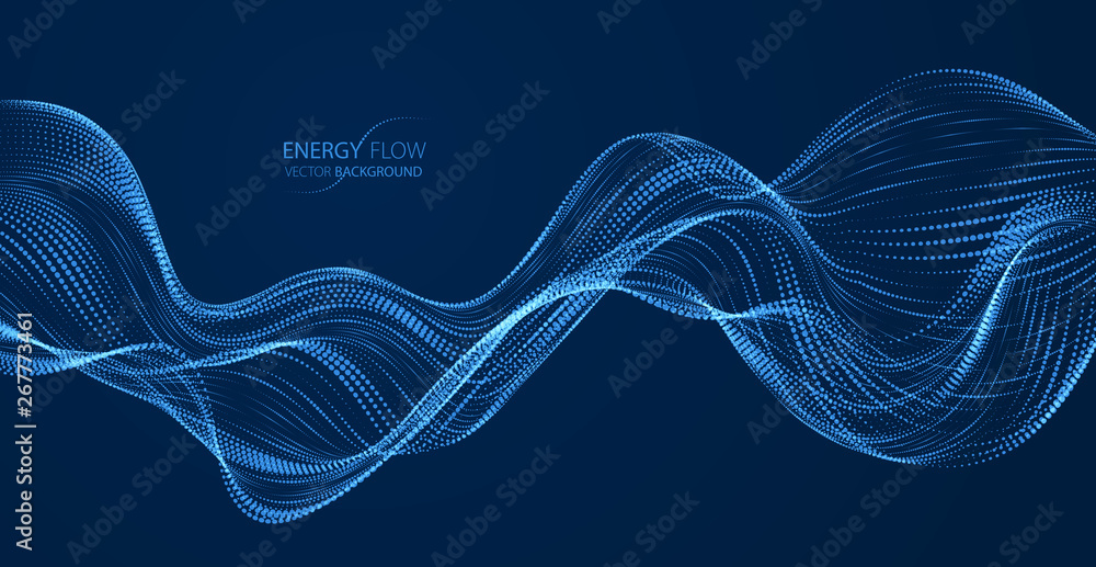Sound wave over dark, particles flow, effect in motion. Dynamic vector abstract background. 3d shape shining dots blended mesh, future technology relaxing wallpaper.