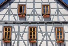 Fachwerkfassade In Der Altstadt Von Schmalkalden, Thüringen