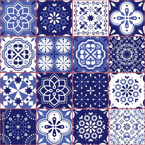 Fototapeten Künstlich Portuguese or Spanish Azujelo vector seamless tiles design - Lisbon retro navy blue pattern, tile big collection