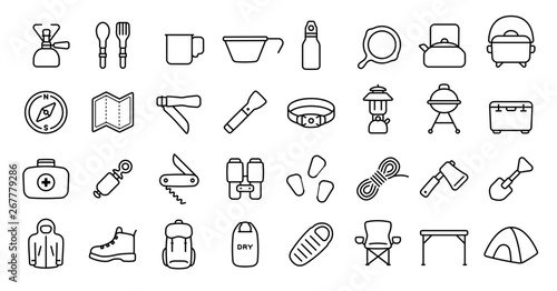 Photo Camping and Outdoor Gear Icon Set (Thin Line Version)