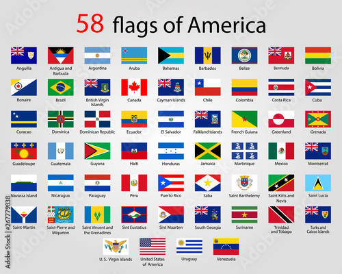 Fototapeta Flat Round Flags of America - Full Vector CollectionVector