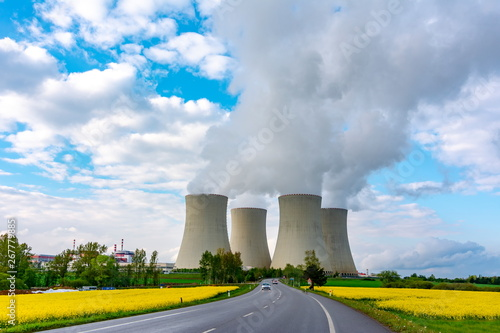 Fotografering  Thermal power plant pipes in Europe