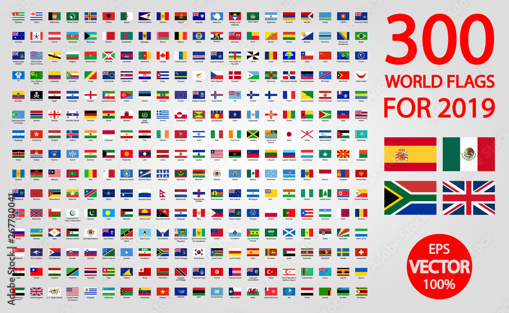 Fototapety, obrazy: All official national flags of the world . circular design