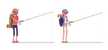 Hiking Man, Woman Fishing With A Rod. Tourists With Backpacking Gear, Wearing Clothes For Outdoor Walks, Sporting, Leisure Activity. Vector Flat Style Cartoon Illustration Isolated, White Background