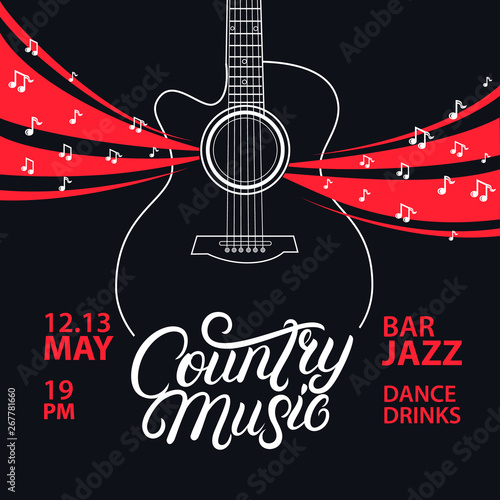 Pinturas sobre lienzo  Country Music hand written lettering and guitar poster.