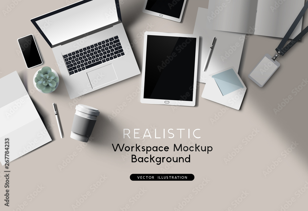 Fototapeta A workplace top view desk mockup. Realistic Vector office accessories.