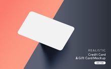 Brand Identity Blank Credit / Gift / Business Card Mockup Template Design With Vector Shadow Effects.