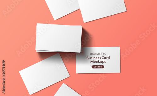 Obraz Mockup Business Cards Layout Top View - fototapety do salonu