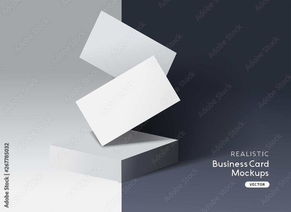 Fototapeta Realistic Branding and identity business cards layout mockup design.