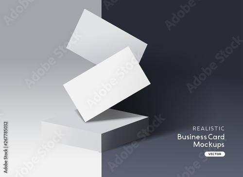Fototapeta Realistic Branding and identity business cards layout mockup design. obraz