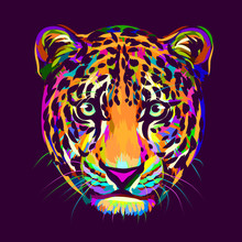 Abstract, Multi-colored Portrait Of A Jaguar Looking Forward On A Purple Background.