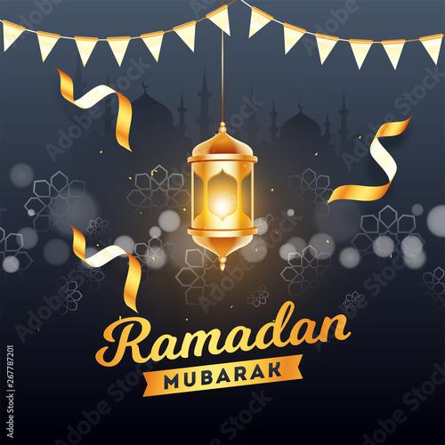 Ramadan Mubarak poster or template design with hanging illuminated