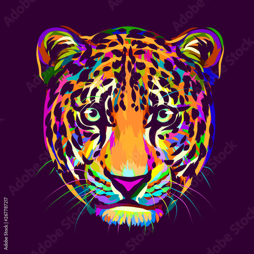 Valokuvatapetti Abstract, multi-colored portrait of a Jaguar looking forward on a purple background