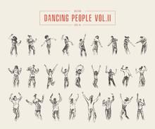 Set Dancing Gils Drawn Vector Illustration Sketch