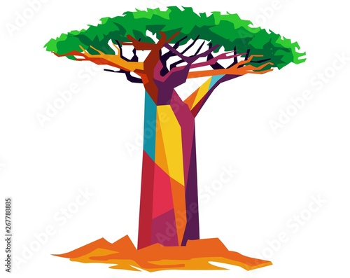 Cuadros en Lienzo baobab tree in wpap pop art style for vector illustration