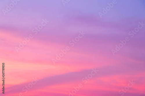 Sky background in twilight period with pink and violet color at sunset