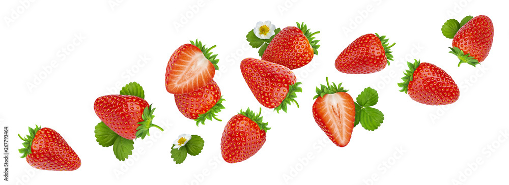 Fototapety, obrazy: Strawberry isolated on white background with clipping path