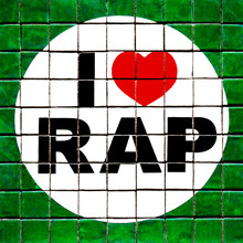 CoIorful I Love Rap Sign With Red Heart Made Of Small Green White Tiles Piece Of A Jigsaw  - Concept Text Hiphop Music Sub Culture Fun Fan Lifestyle US American Style Youth Design Symbol Message