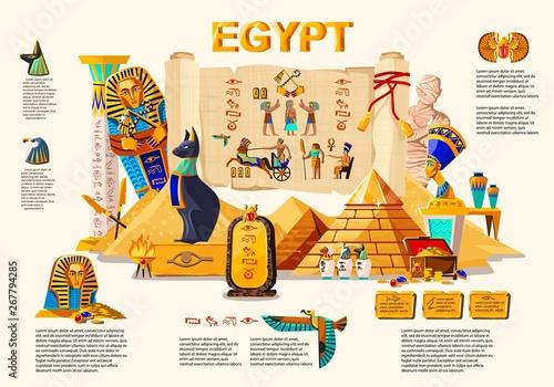 Fotografie, Tablou Ancient Egypt infographic cartoon vector travel concept