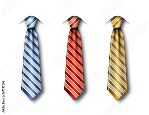 Obraz Set of striped ties in different colors on white background. Fathers Day greeting card template with blue, red and gold necktie. Realistic vector illustration - fototapety do salonu