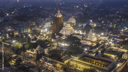 Obraz na plátně Jagannath temple, Orissa, India, 4k hyperlapse aerial drone footage