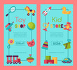 Baby toy shop banner in flat cartoon style. Kids game market includes teddy bear, pyramid, doll. Children fun and activity play colorful store kindergarten vector illustration.