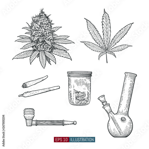 Hand drawn marijuana set Canvas Print