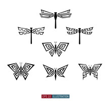 Dragonfly And Butterfly Silhouettes Set. Polygonal Icons. Template For Your Design Works. Vector Illustration.
