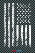 Grunge American Flag On Transp...